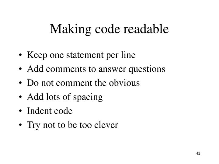 Making code readable