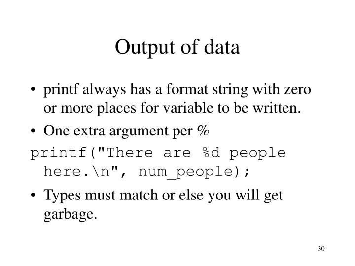 Output of data