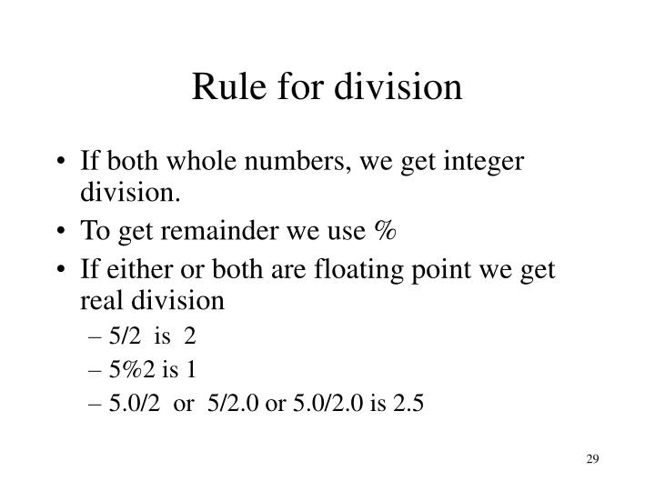 Rule for division