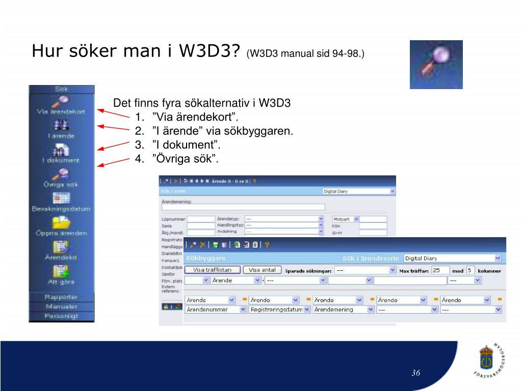 Hur söker man i W3D3?