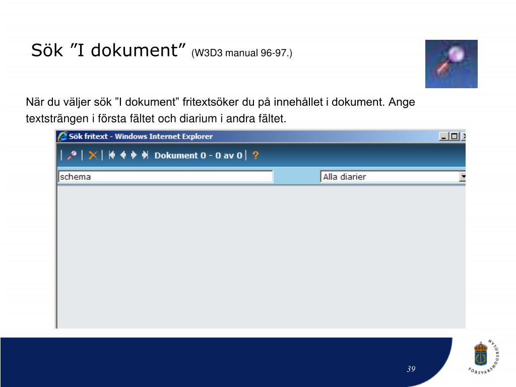 """Sök """"I dokument"""""""