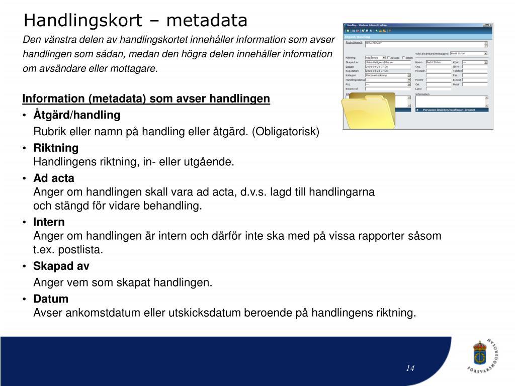 Handlingskort – metadata