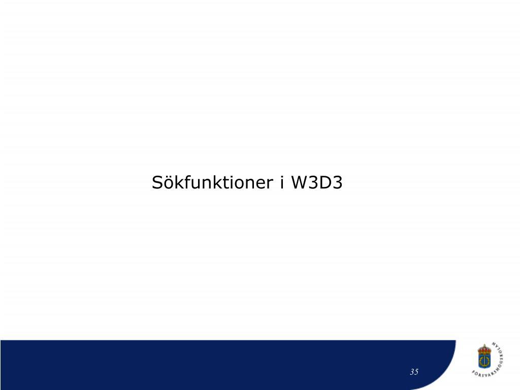 Sökfunktioner i W3D3