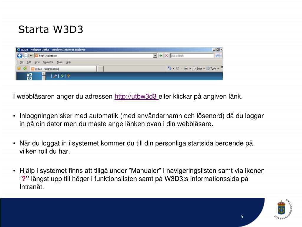 Starta W3D3