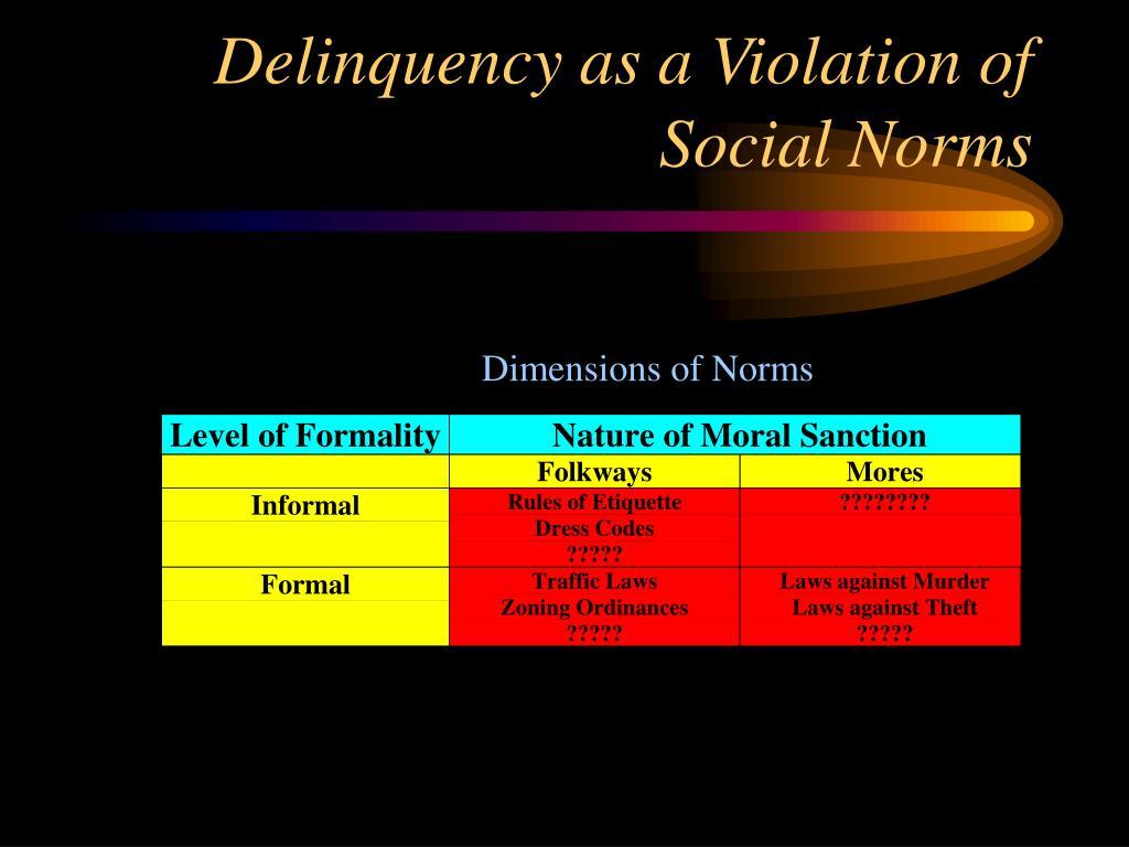 Delinquency as a Violation of Social Norms