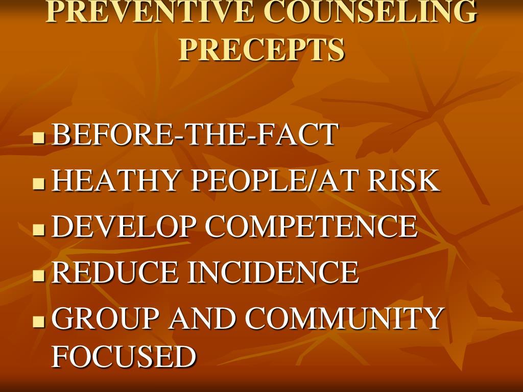 PREVENTIVE COUNSELING PRECEPTS