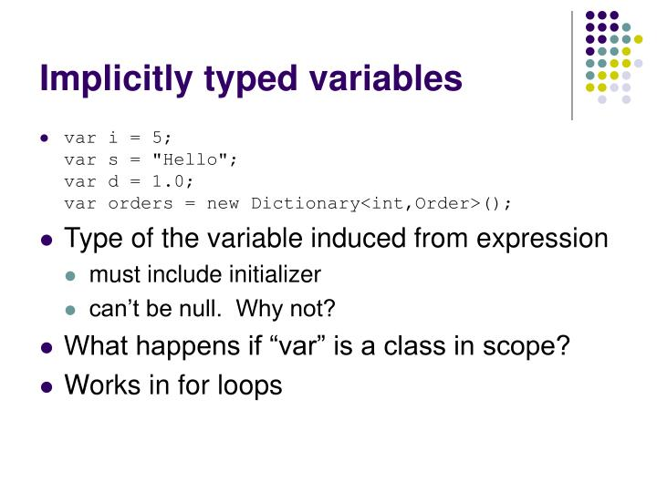 Implicitly typed variables