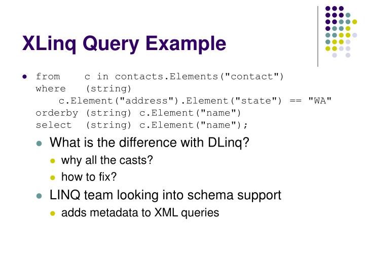 XLinq Query Example