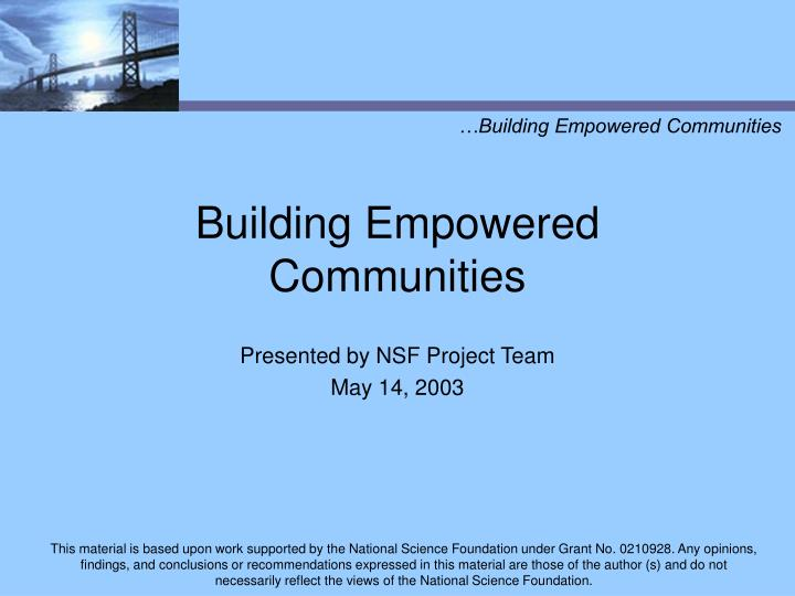 Building empowered communities l.jpg