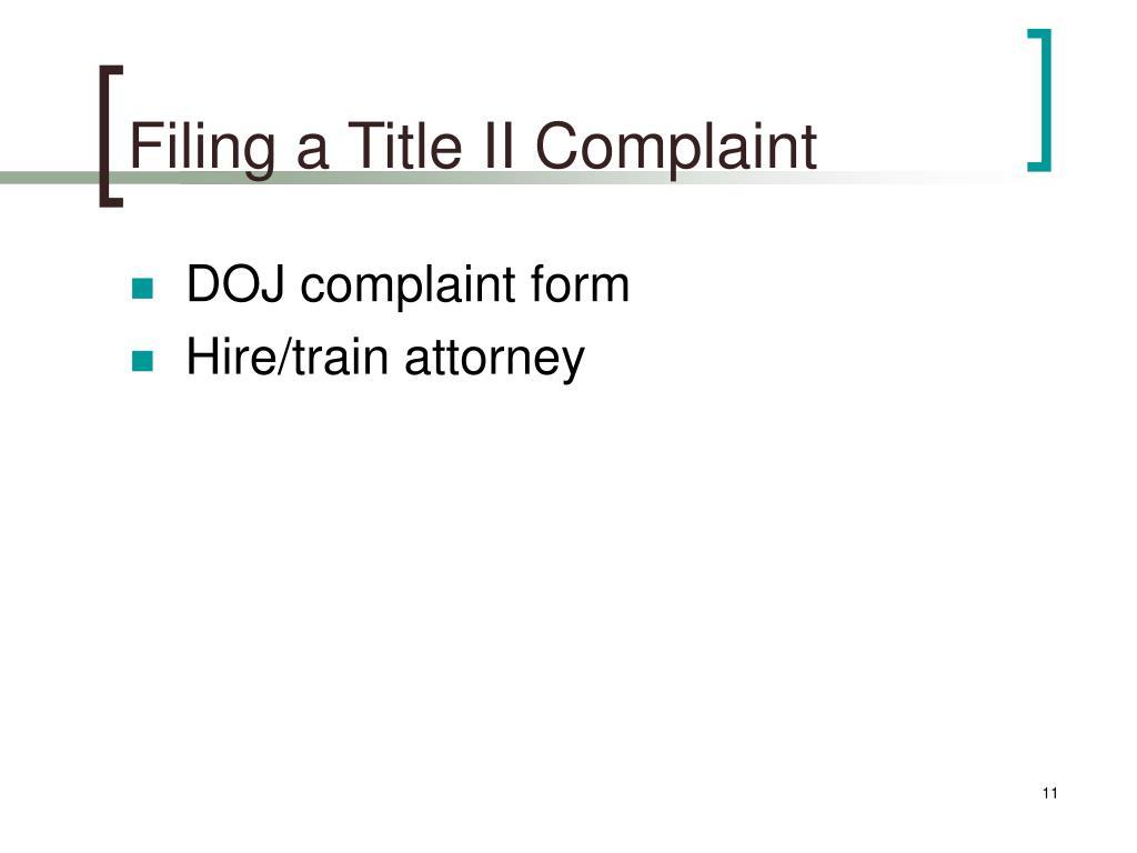 Filing a Title II Complaint