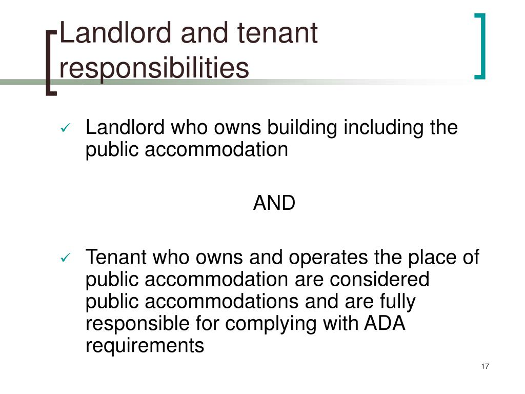 Landlord and tenant responsibilities