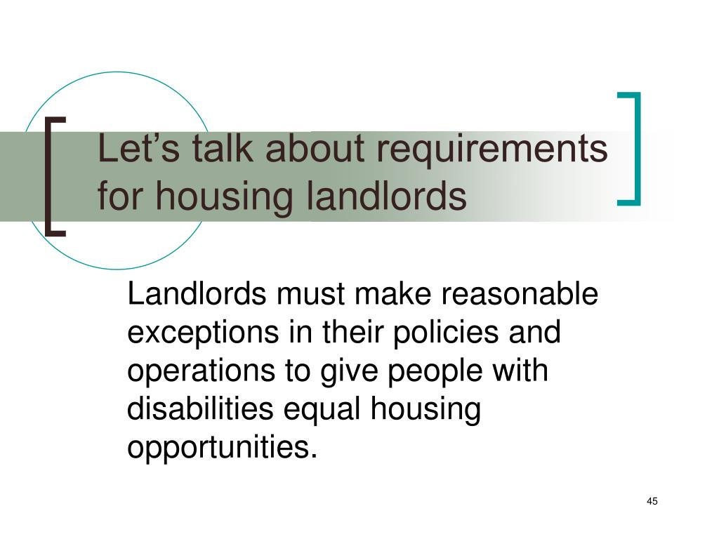 Let's talk about requirements for housing landlords
