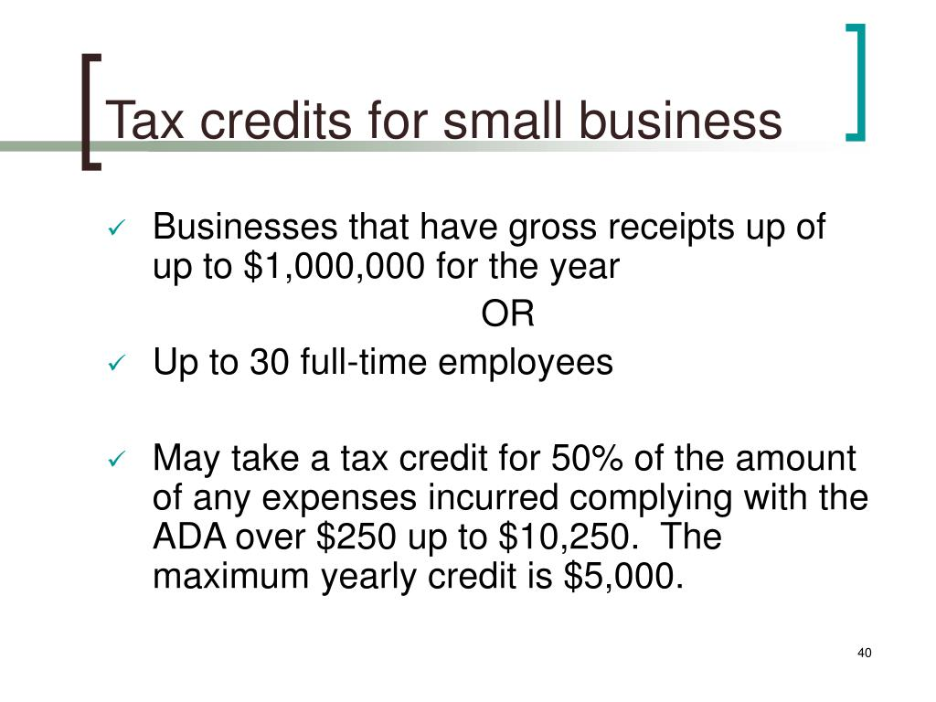 Tax credits for small business