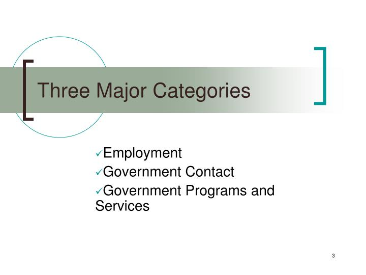 Three major categories