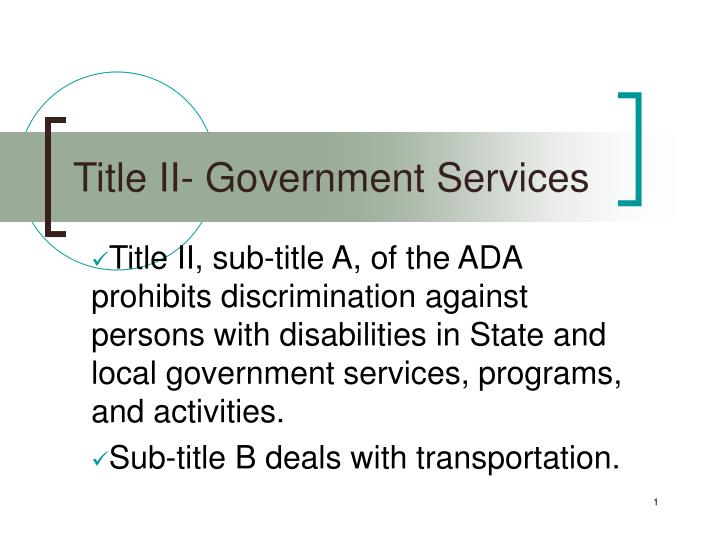 Title ii government services