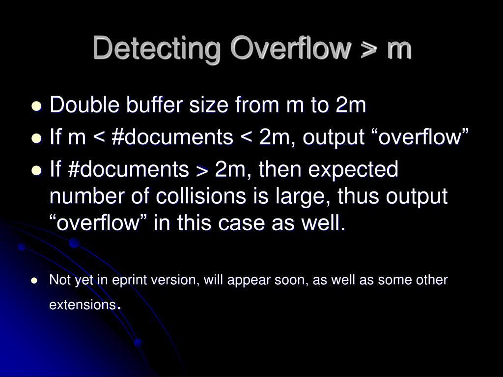 Detecting Overflow > m
