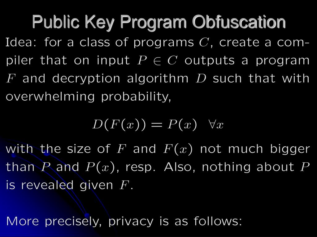 Public Key Program Obfuscation