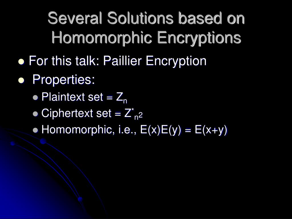 Several Solutions based on Homomorphic Encryptions