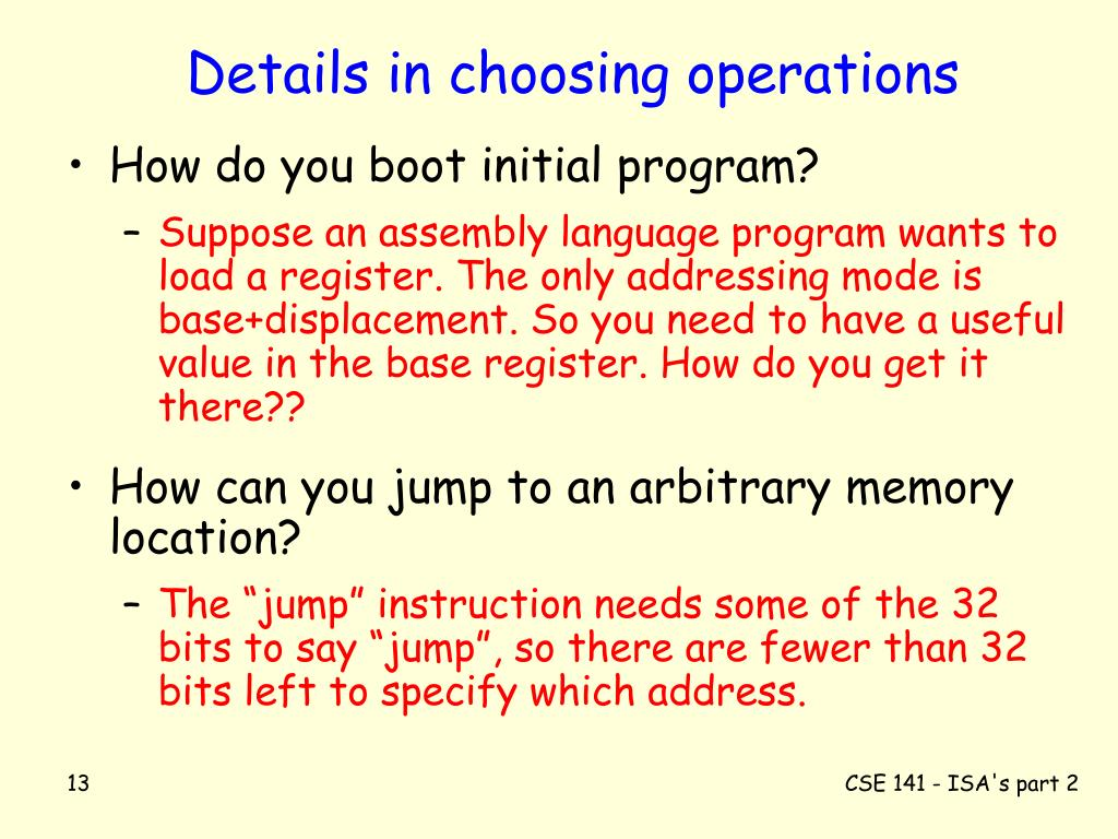 Details in choosing operations