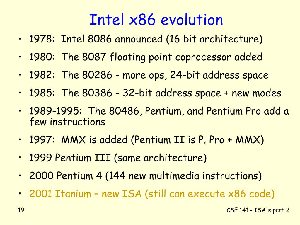 Intel x86 evolution
