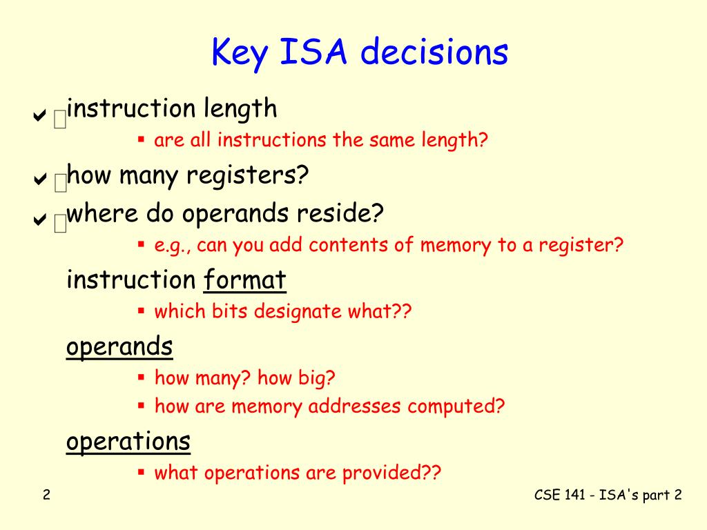 Key ISA decisions