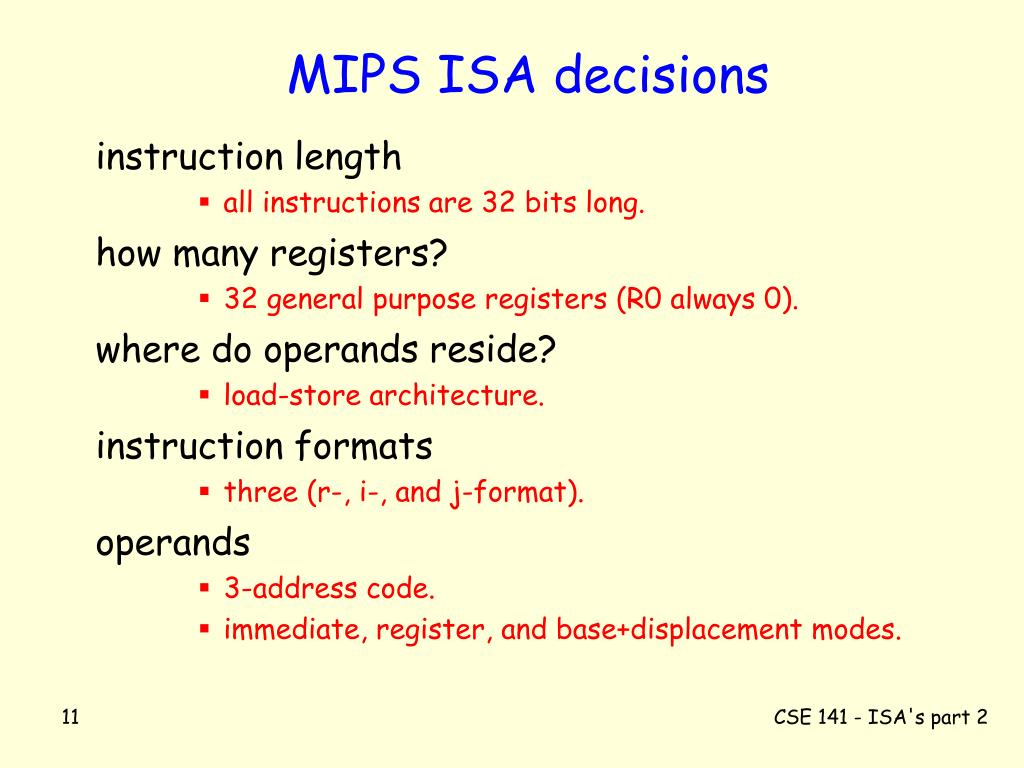 MIPS ISA decisions