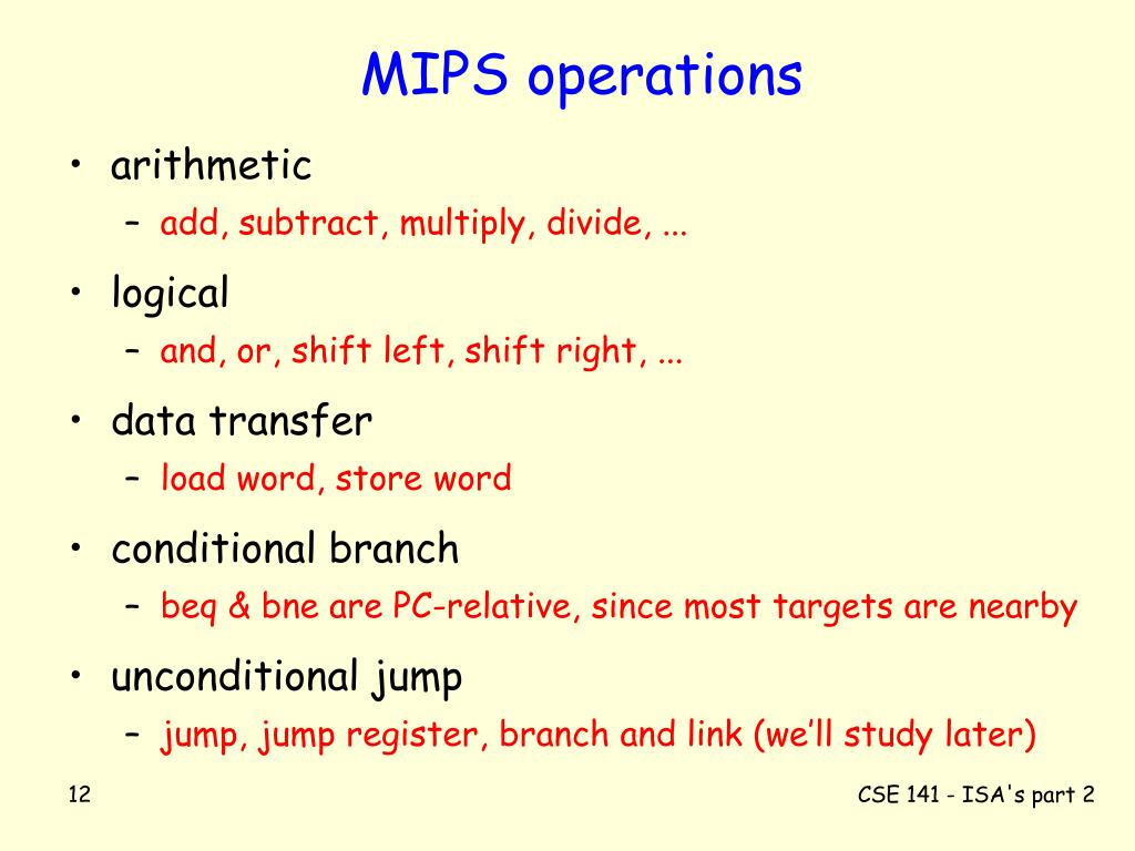 MIPS operations