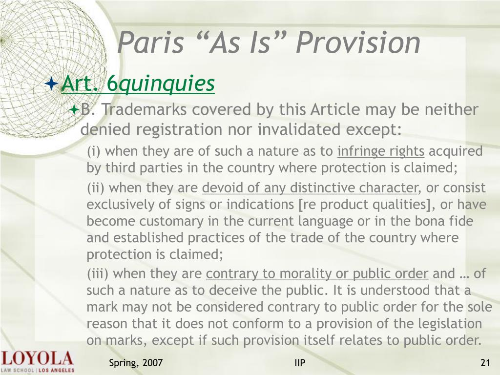 "Paris ""As Is"" Provision"