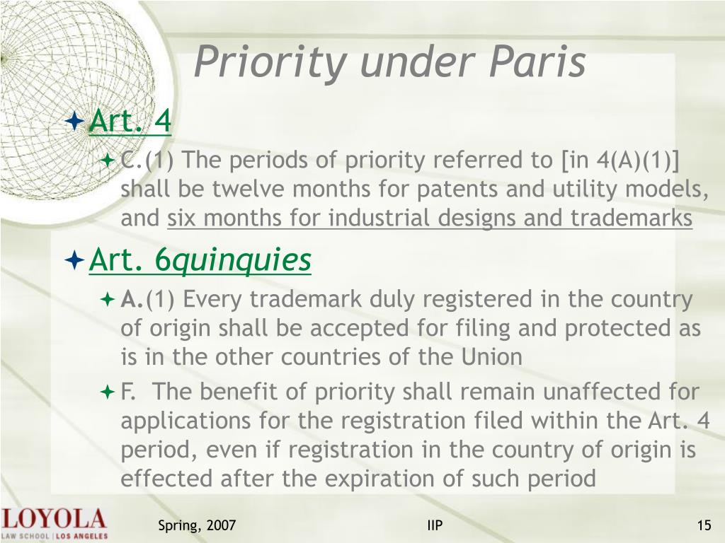 Priority under Paris