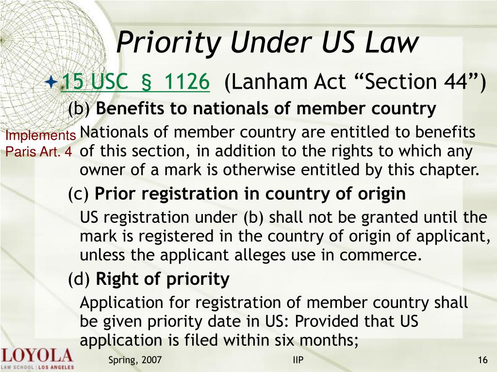Priority Under US Law