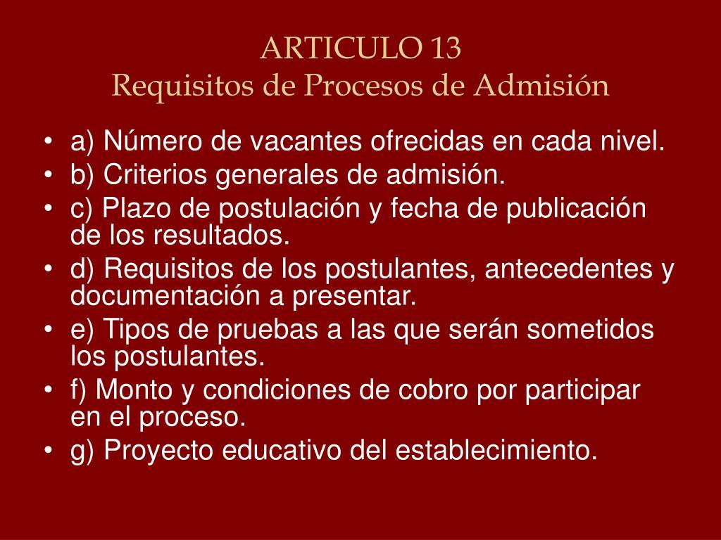 ARTICULO 13