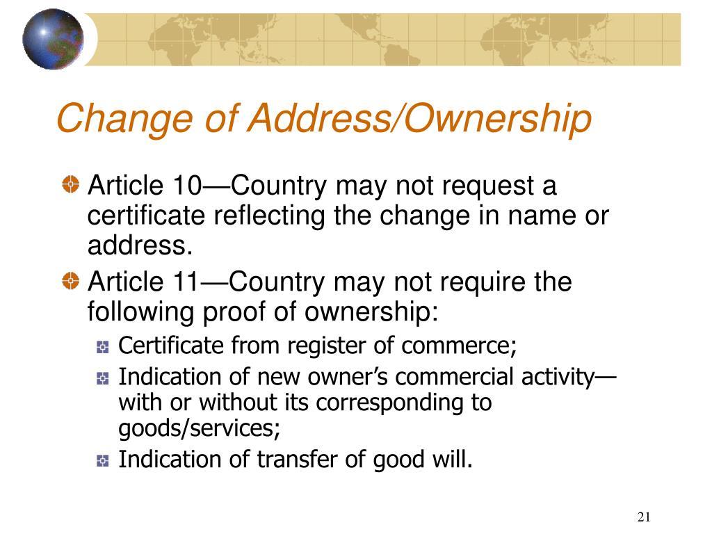 Change of Address/Ownership