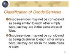 classification of goods services