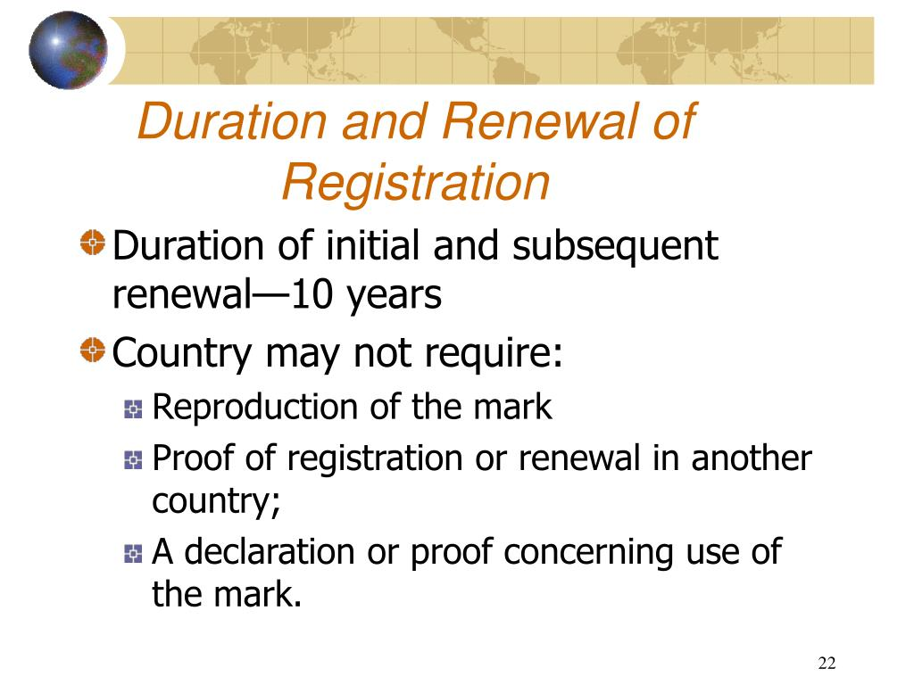 Duration and Renewal of Registration