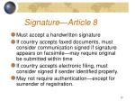 signature article 8