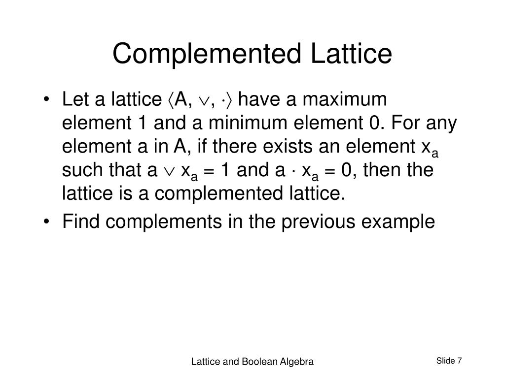 Complemented Lattice