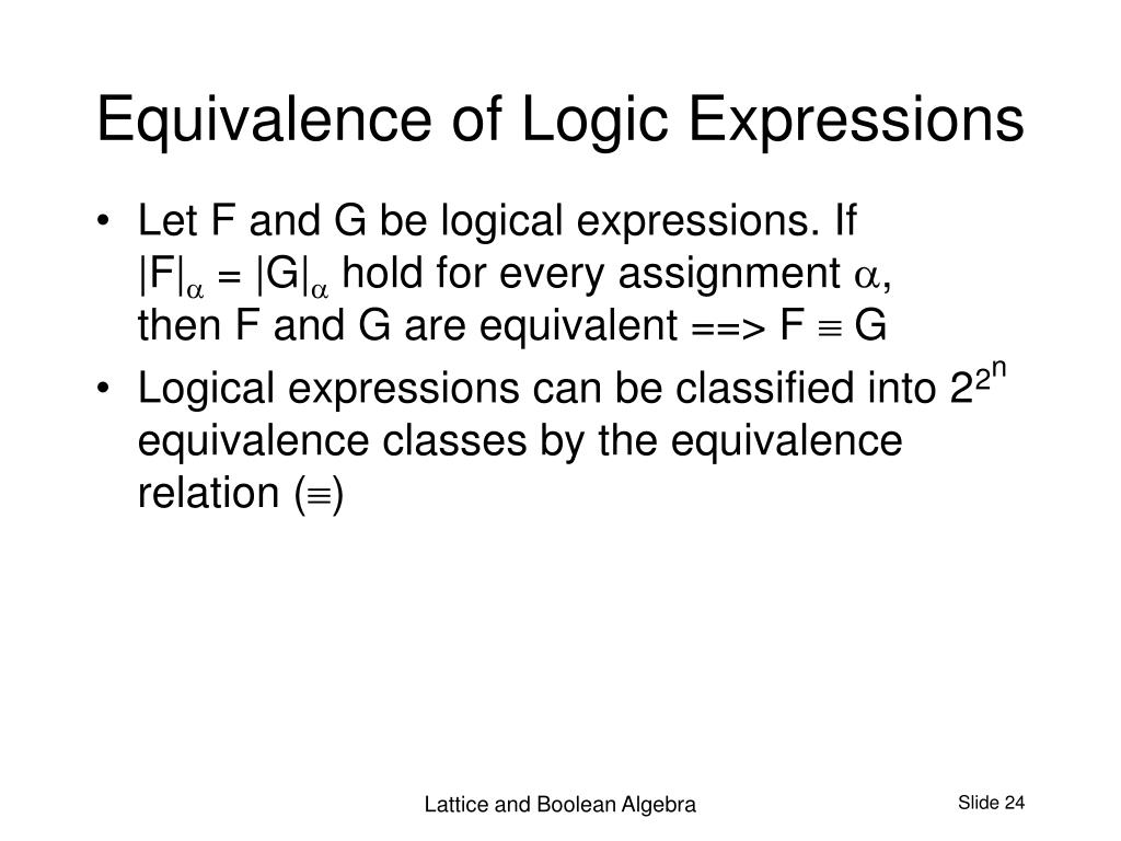 Equivalence of Logic Expressions