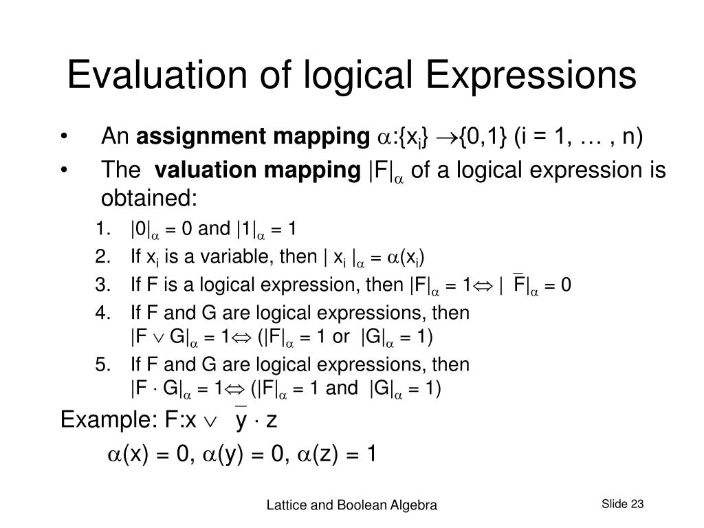 Evaluation of logical Expressions
