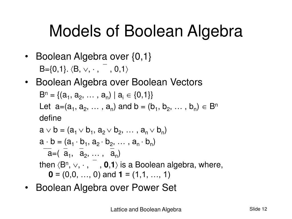Models of Boolean Algebra