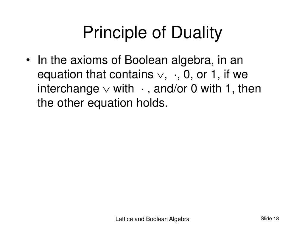 Principle of Duality