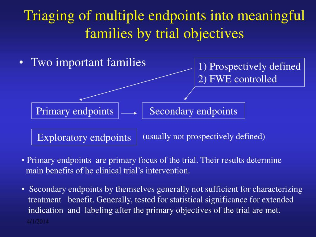 Triaging of multiple endpoints into meaningful families by trial objectives