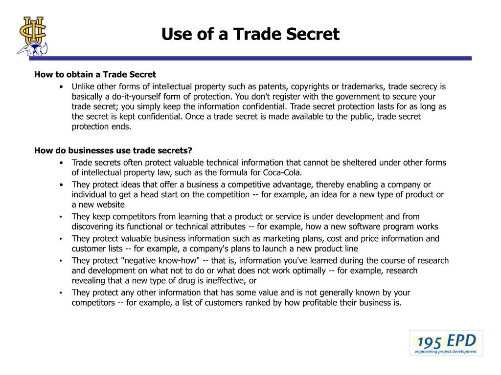 Use of a Trade Secret