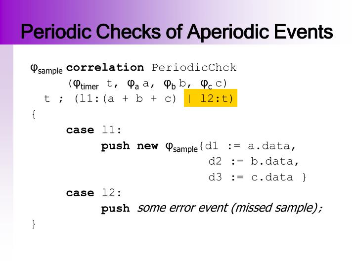 Periodic Checks of Aperiodic Events