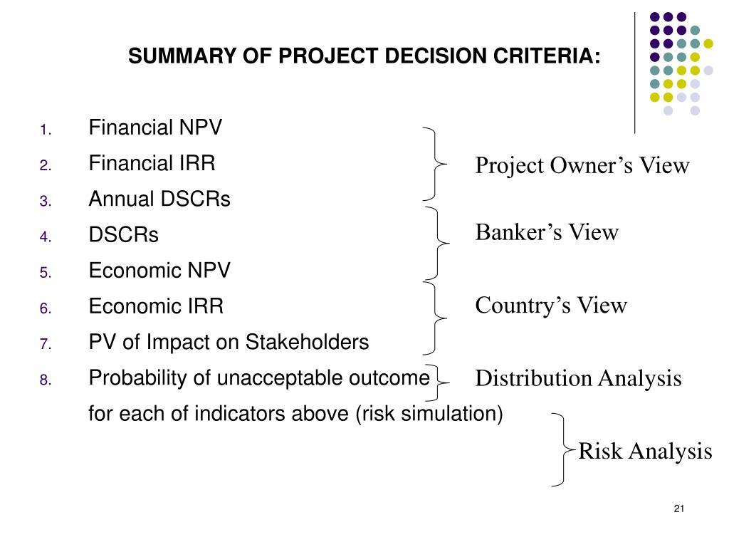 SUMMARY OF PROJECT DECISION CRITERIA: