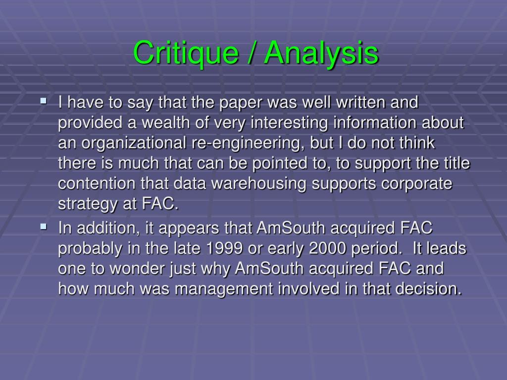 Critique / Analysis