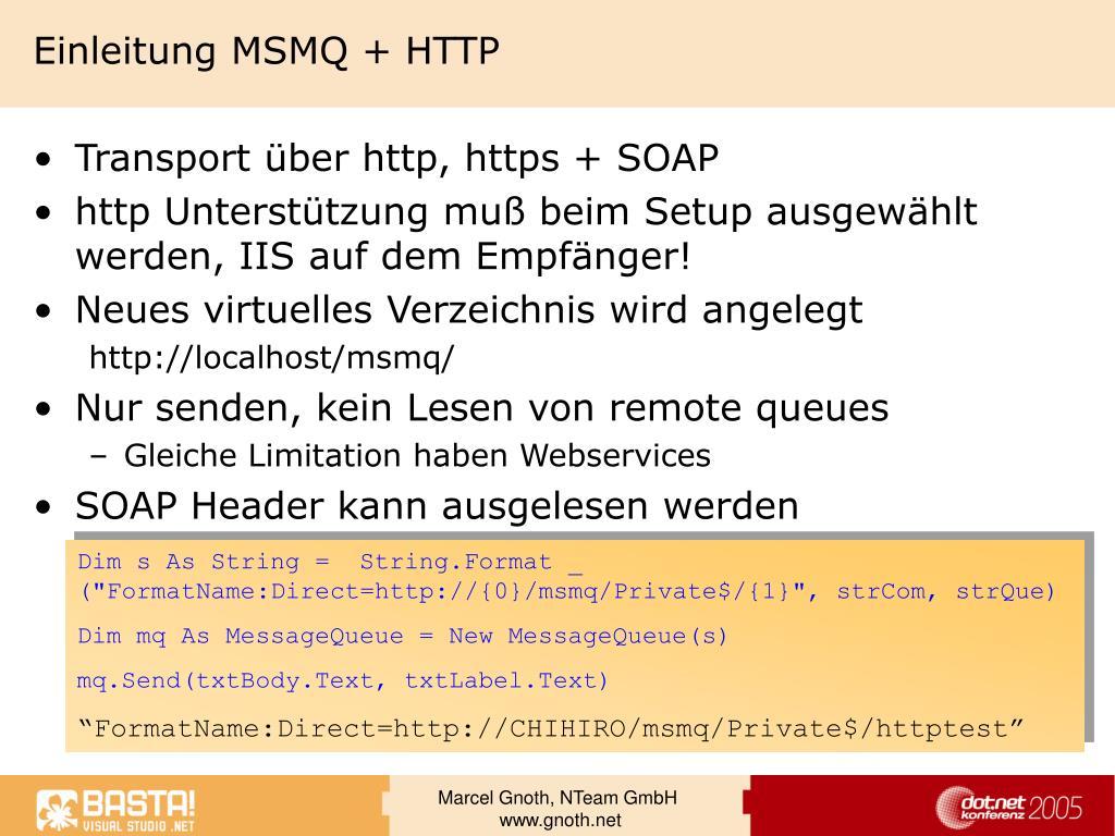 Einleitung MSMQ + HTTP