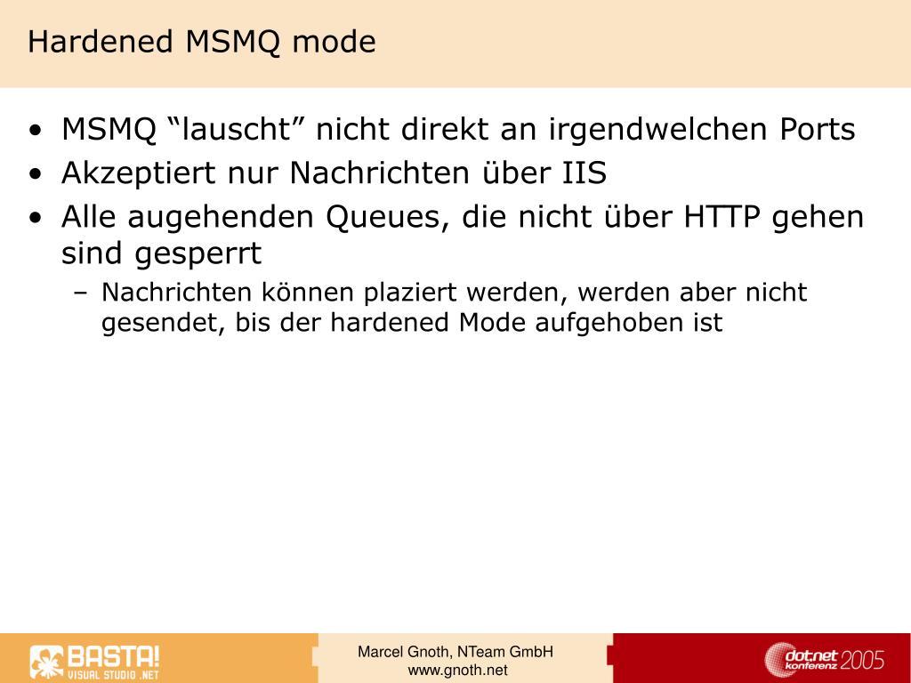 Hardened MSMQ mode