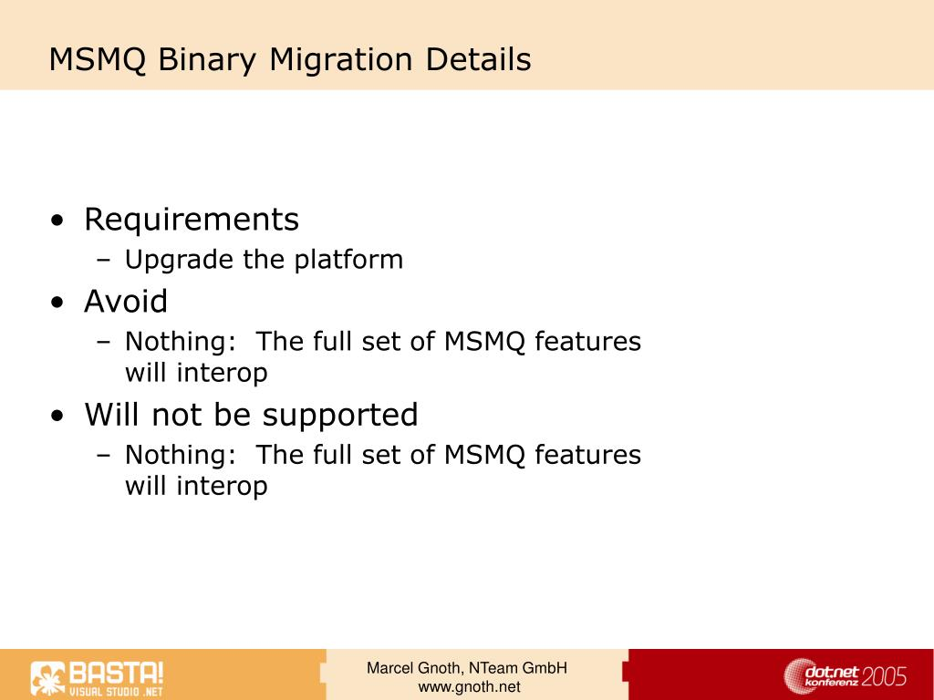 MSMQ Binary Migration Details