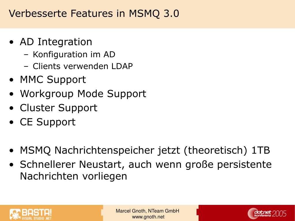 Verbesserte Features in MSMQ 3.0