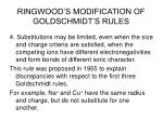 ringwood s modification of goldschmidt s rules
